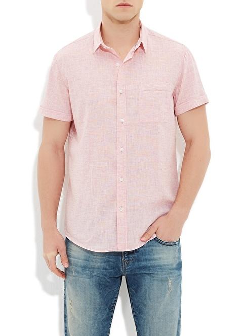 Mavi Kısa Kollu Gömlek Kırmızı
